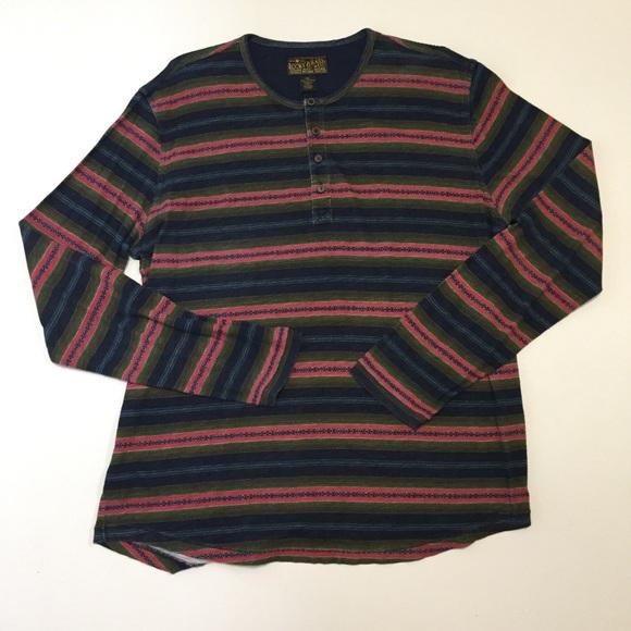 Lucky Brand Other - Lucky Brand Mens XL Henley Shirt Blue Pink Green